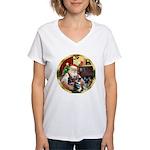 Santa's 2 German Shepherds Women's V-Neck T-Shirt