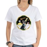 Night Flight/German Shepherd Women's V-Neck T-Shir