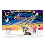 XmasSunrise/4 Ital Greyhounds Postcards (Package o
