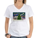 XmasMagic/Ital.Greyt1 Women's V-Neck T-Shirt