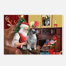 Santa/Keeshond Postcards (Package of 8)