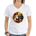 Santa's Lab (blk)#1 Women's V-Neck T-Shirt