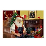 Santa's 2 Black Labs Postcards (Package of 8)