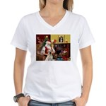 Santa's Yellow Lab #7 Women's V-Neck T-Shirt