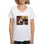 Santa's 2 Labs (Y+B) Women's V-Neck T-Shirt