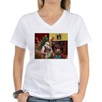 Santa's Norwegian Elk Women's V-Neck T-Shirt