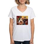 Santa/Nova Scotia Dog Women's V-Neck T-Shirt
