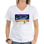 XmasSunrise/ 2 OES Women's V-Neck T-Shirt