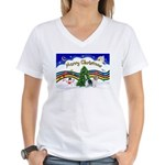 XmasMusic1/PBGV #9 Women's V-Neck T-Shirt