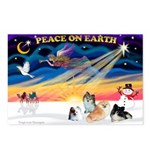 XmasSunrise/4 Poms Postcards (Package of 8)