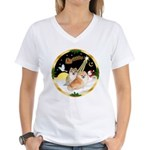 Night Flight/2 Pomeranians Women's V-Neck T-Shirt