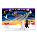 XmasSunrise/2 Std Poodles Postcards (Package of 8)