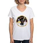 Night Flight/Pug (blk)#13 Women's V-Neck T-Shirt