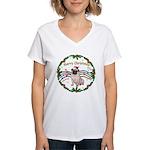 XmasMusic1MC/Pug 11 Women's V-Neck T-Shirt