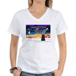 XmasSunrise/Puli #1 Women's V-Neck T-Shirt