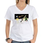Night Flight/Rat Terrier Women's V-Neck T-Shirt