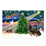 XmasMagic/2 Rotties Postcards (Package of 8)