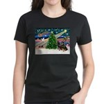 XmasMagic/2 Rotties Women's Dark T-Shirt