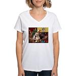 Santa's Sheltie (SW) Women's V-Neck T-Shirt