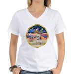 XmasStar/Shih Tzu Women's V-Neck T-Shirt
