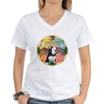 XmasMusic 3/Sib Husky Women's V-Neck T-Shirt