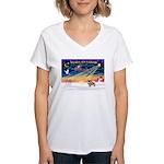 XmasSunrise/Tibetan Spaniel Women's V-Neck T-Shirt