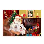 Santa's Westie pair Postcards (Package of 8)