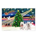 Xmas Magic & 2 Westies Postcards (Package of 8)