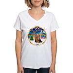 XmasMusic3/Yorkie #7 Women's V-Neck T-Shirt