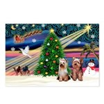 XmasMagic/2 Yorkies Postcards (Package of 8)