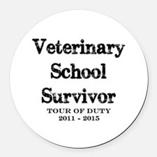 Veterinary School Survivor Round Car Magnet