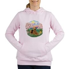 Blossoms- Airedale 5.png Women's Hooded Sweatshirt