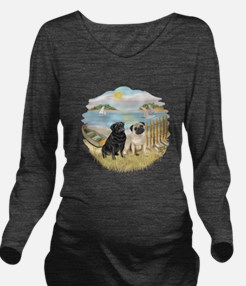 Row Boat-TwoPugs (F+B).png Long Sleeve Maternity T