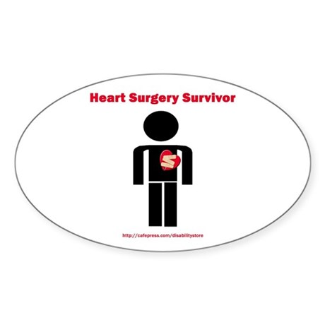 Heart Surgery Surviver Oval Sticker