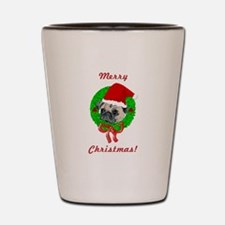 Merry Christmas Pug Shot Glass