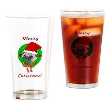 Merry Christmas Pug Drinking Glass