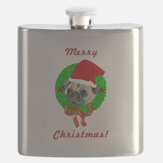 Merry Christmas Pug Flask