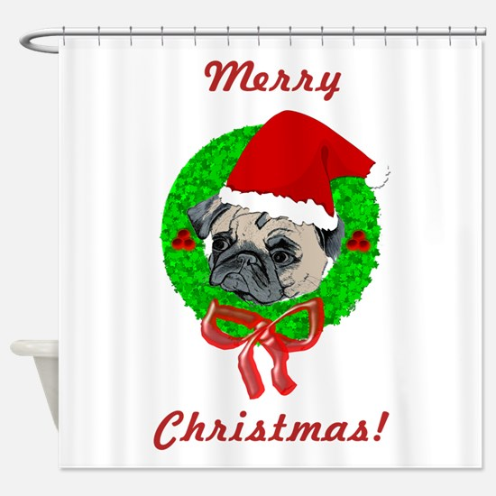 Merry Christmas Pug Shower Curtain