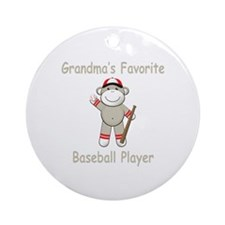 Grandma's Baseball Monkey Ornament (Round)