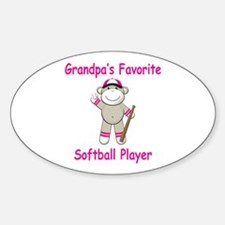 Grandpa's Softball Monkey Sticker (Oval)
