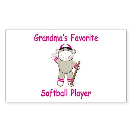 Grandmas Softball Monkey Sticker (Rectangle)