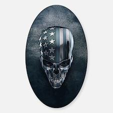 American Flag Skull Sticker (Oval)