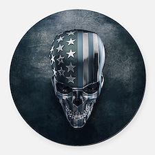 American Flag Skull Round Car Magnet