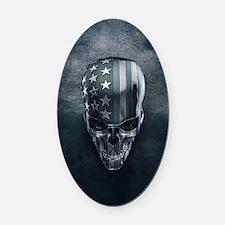American Flag Skull Oval Car Magnet