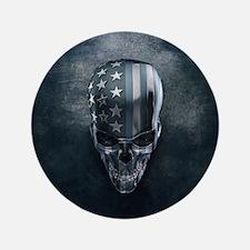 American Flag Skull Button