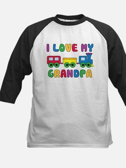 Love Grandpa Train Kids Baseball Jersey