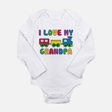 Love Grandpa Train Long Sleeve Infant Bodysuit