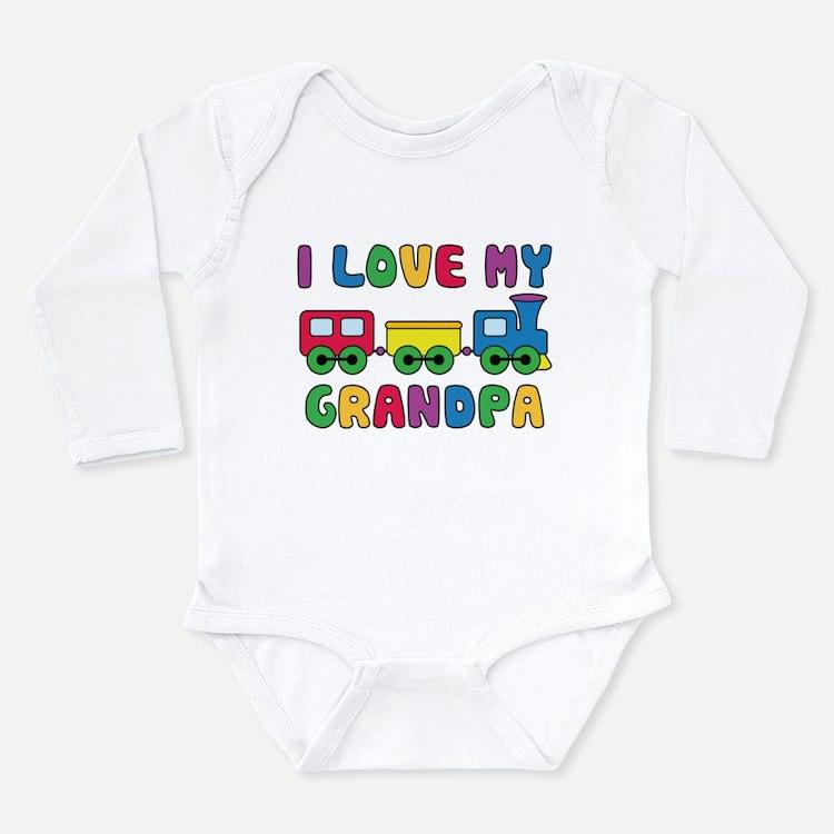 Love Grandpa Train Long Sleeve Infant Bodysuit