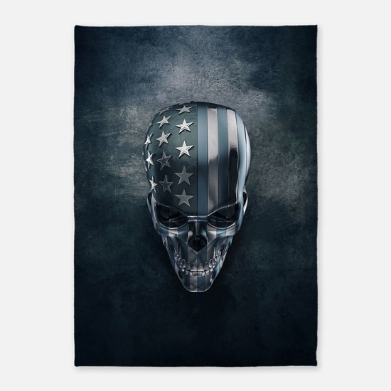 American Flag Skull 5'x7'Area Rug