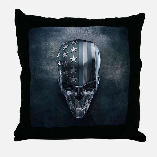 American Flag Skull Throw Pillow